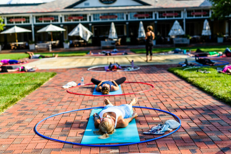 People doing yoga at Easton.