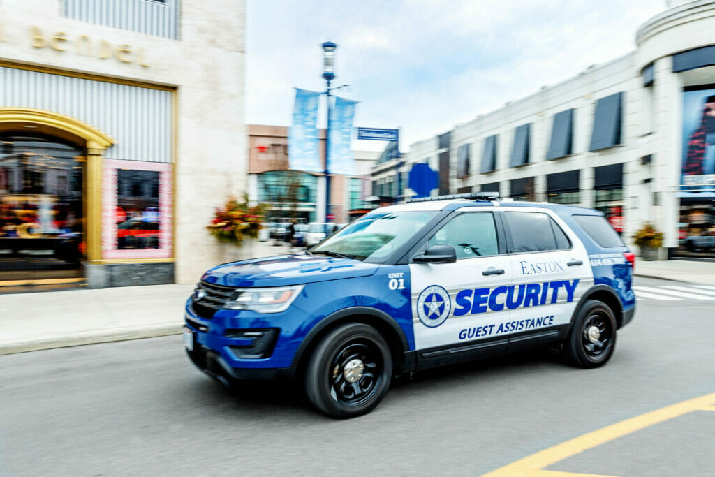 Easton Security vehicle driving around the streets of Easton