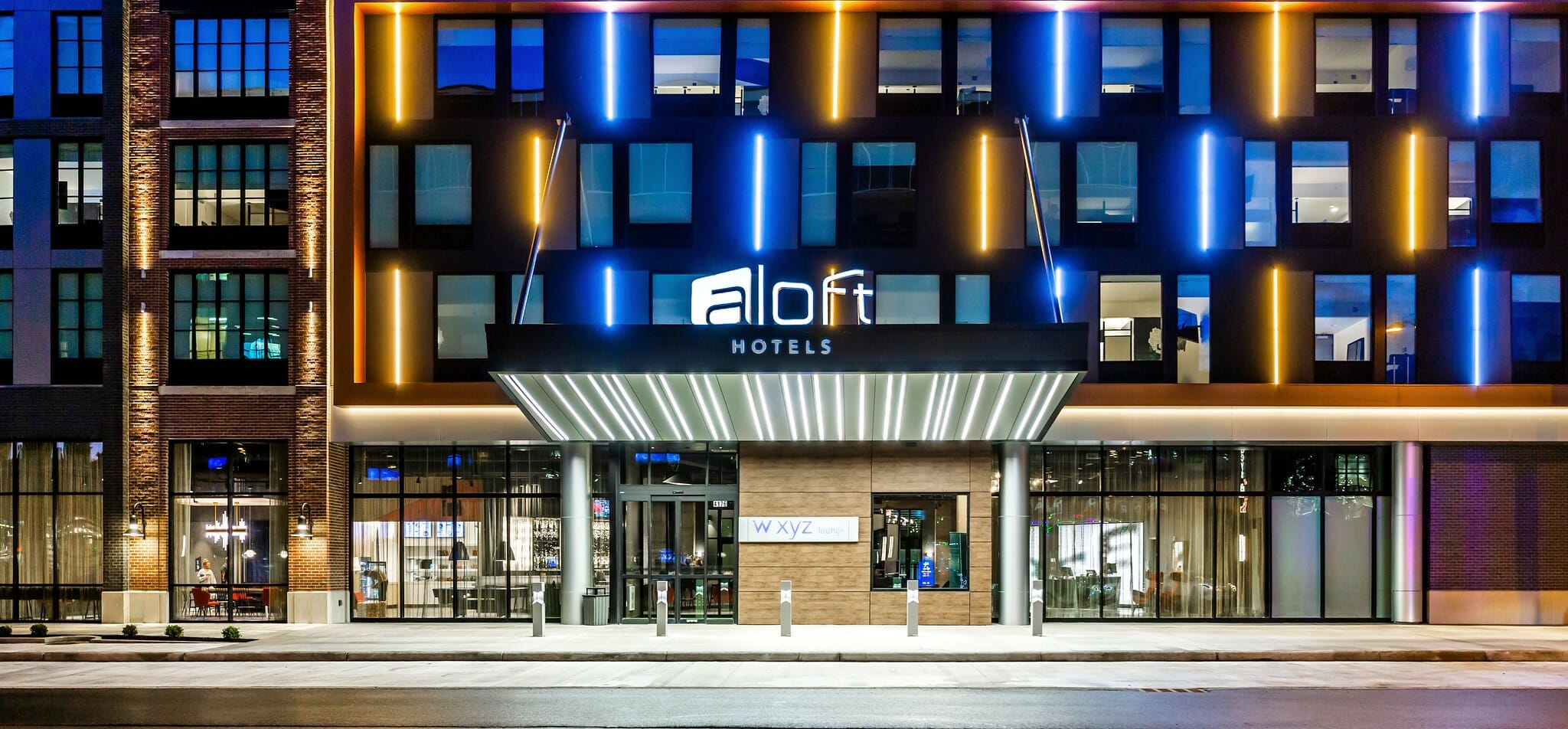Exterior of the Aloft Hotel at Easton.