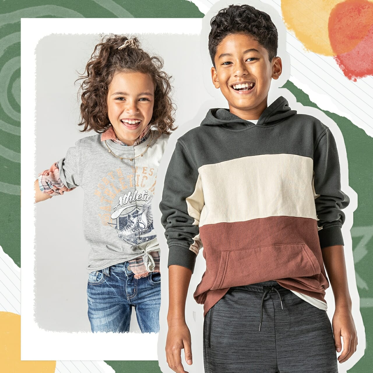 Two kids wearing Buckle clothing and smiling.