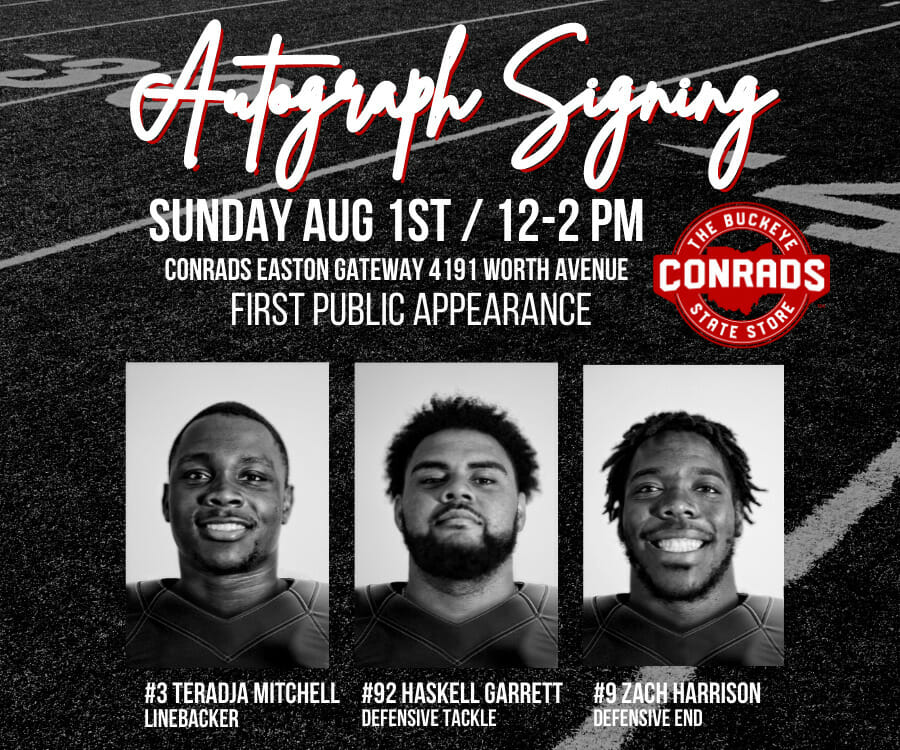 Autograph Signing Sunday, August 1, 2021 12-2PM at Conrads College Gifts at Easton.