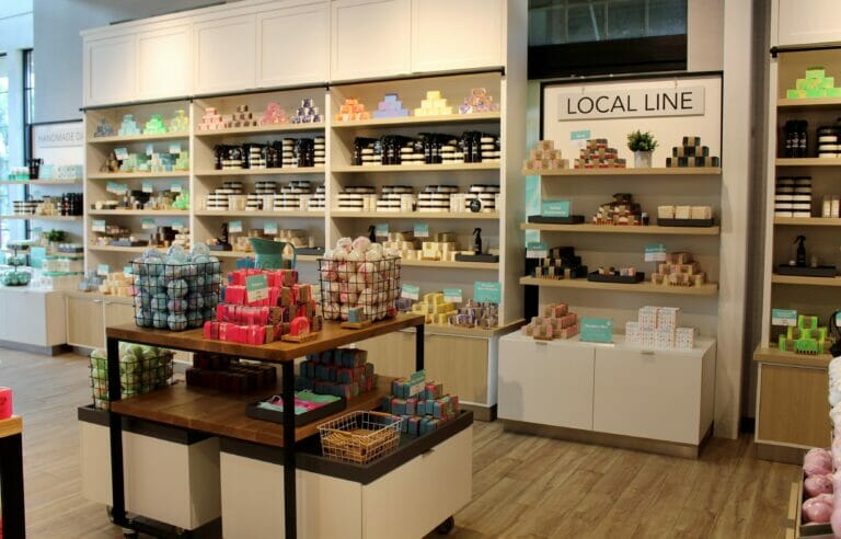 Soaps and other products on display inside Buff City Soap, a soap store at Easton