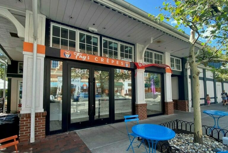 Exterior of Fay's Crepes, a crepe restaurant at Easton.