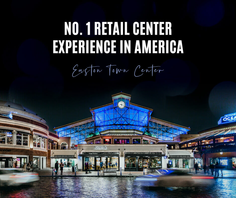 An image of the Easton Station Building lit up at night and text above it in the image that reads No. 1 Retail Center Experience in America.