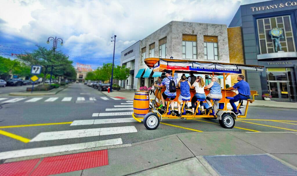 People enjoying the Easton Pedal Wagon.