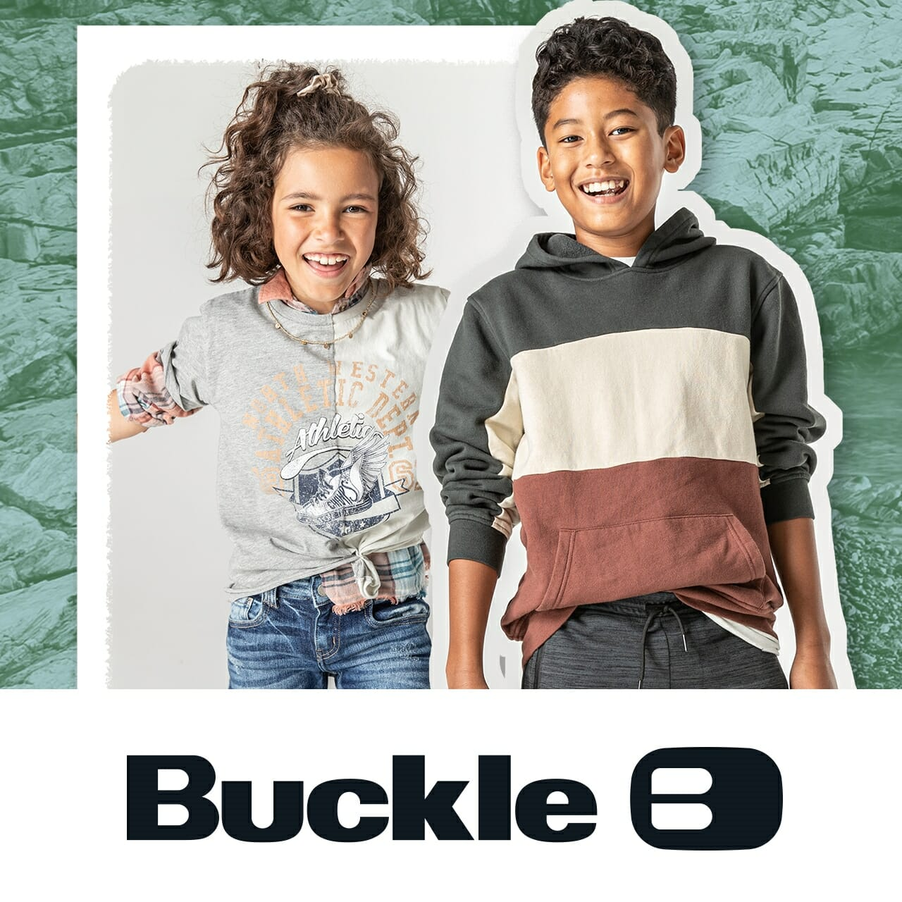 Two children wearing Buckle clothing.