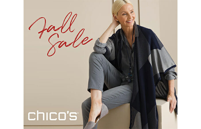 A woman wearing Chico's clothing with promotional copy that reads Fall Sale, Chico's.