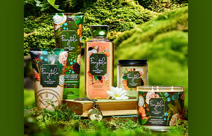 Containers of the new Fairytale collection lotions, candles and body washes at Bath & Body Works.