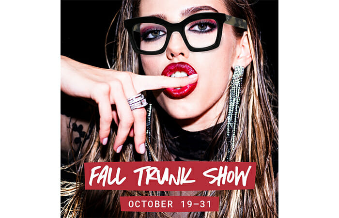 An image of a model wearing SEE glasses and promotional copy that reads Fall Trunk Show October 19-31.