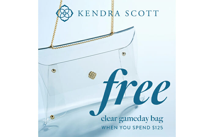 Kendra Scott. Free clear gameday bag when you spend $125.