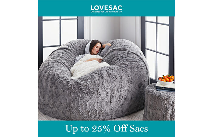 A woman sleeping in a Lovesac sactional with promotional copy that reads Up To 25% Off Sacs.