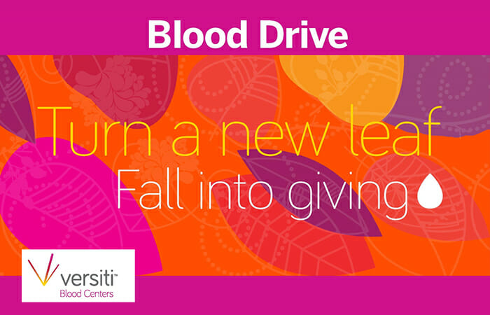 Blood Drive. Turn a new leaf, fallinto giving. Versiti Blood Centers.