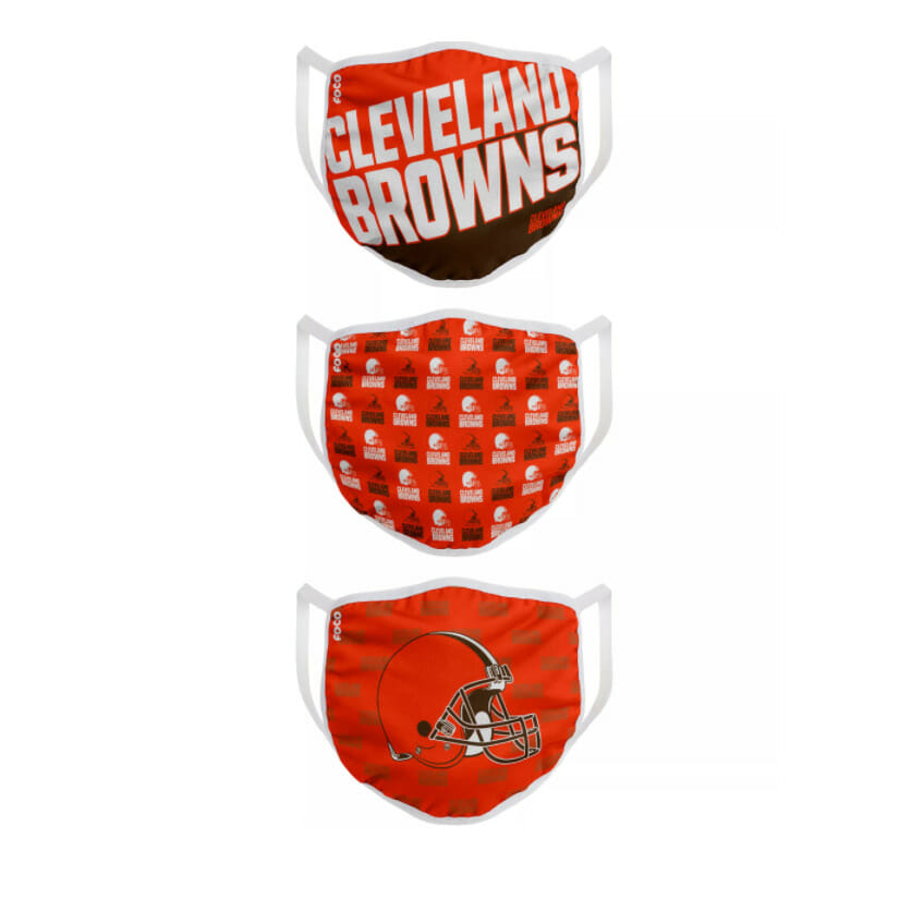Three Cleveland Browns themed face coverings.