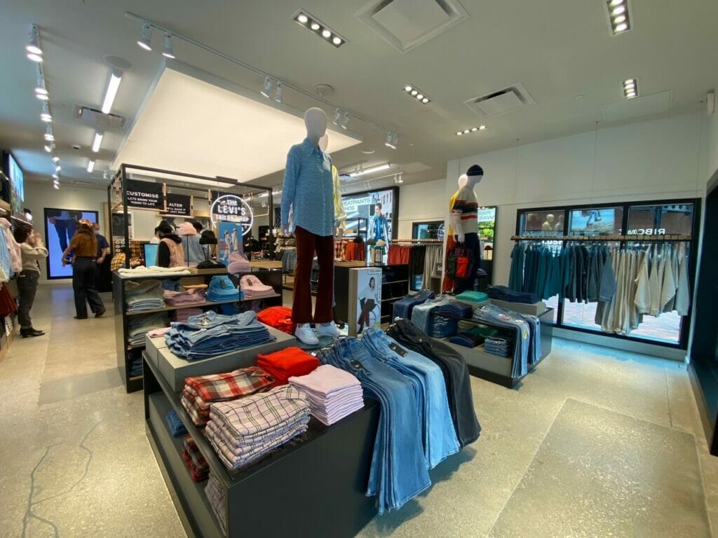 Interior of Levi's store at Easton Town Center.