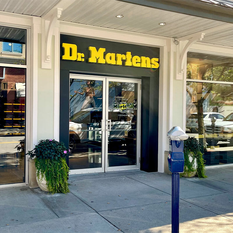 Exterior of Dr. Martens, a boot and shoe store at Easton.