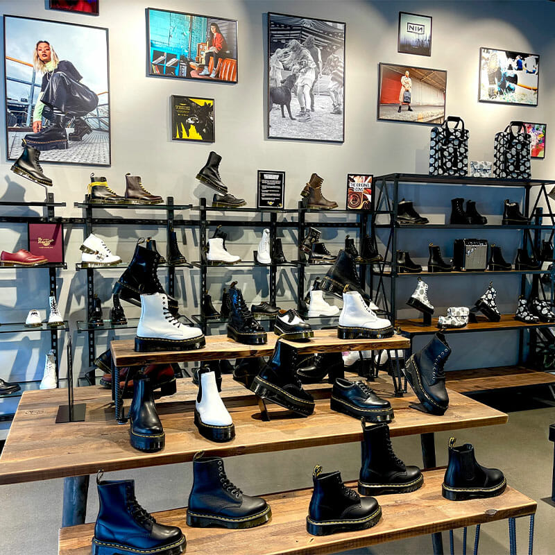 Interior of Dr. Martens, a boot and shoe store at Easton.